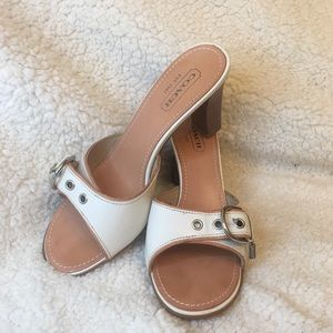 Coach white leather heels